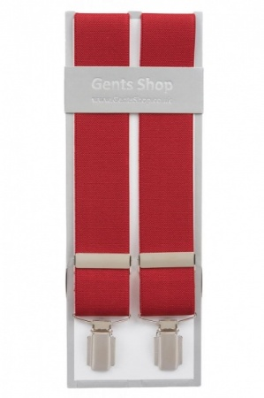 Plain Red Mens Elastic Trouser Braces With Silver Coloured Feather Edged Clips - Available In 3 Sizes
